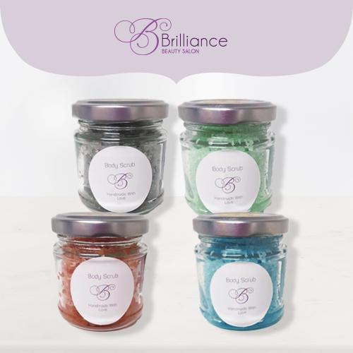 Brilliance Beauty Salon Handmade Bath Scrubs, 4 types, purple, peach, blue and aqua coloured bath scrubs