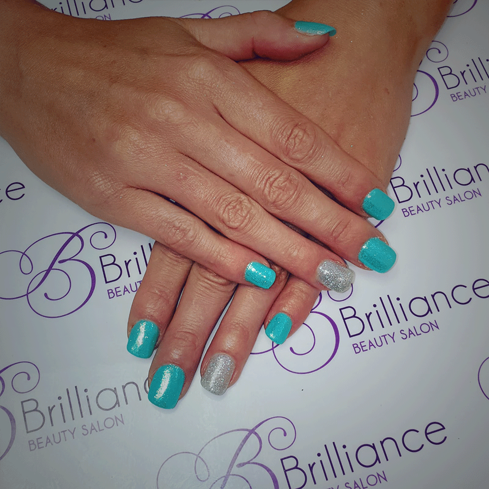 turquoise glitter and silver glitter gel nails