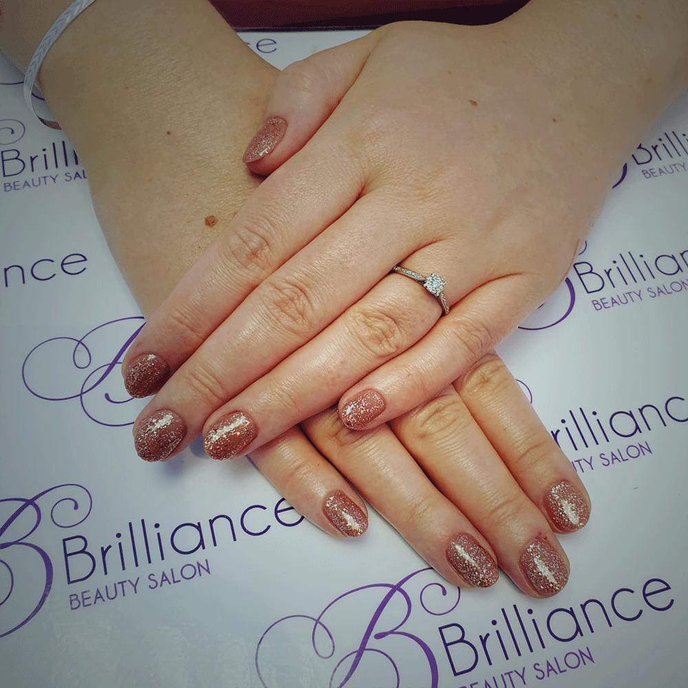 red glitter gel nails