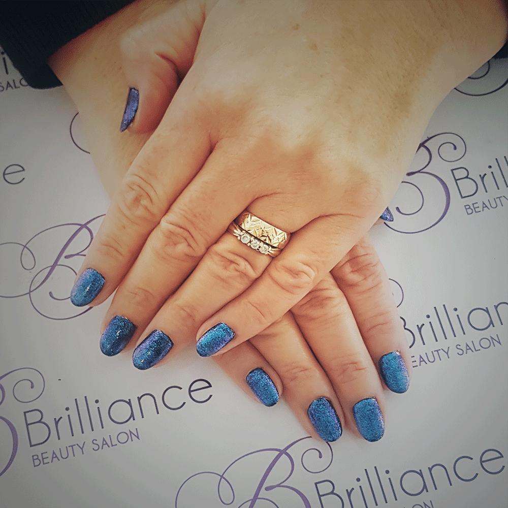manicure/hands blue glitter gel nails