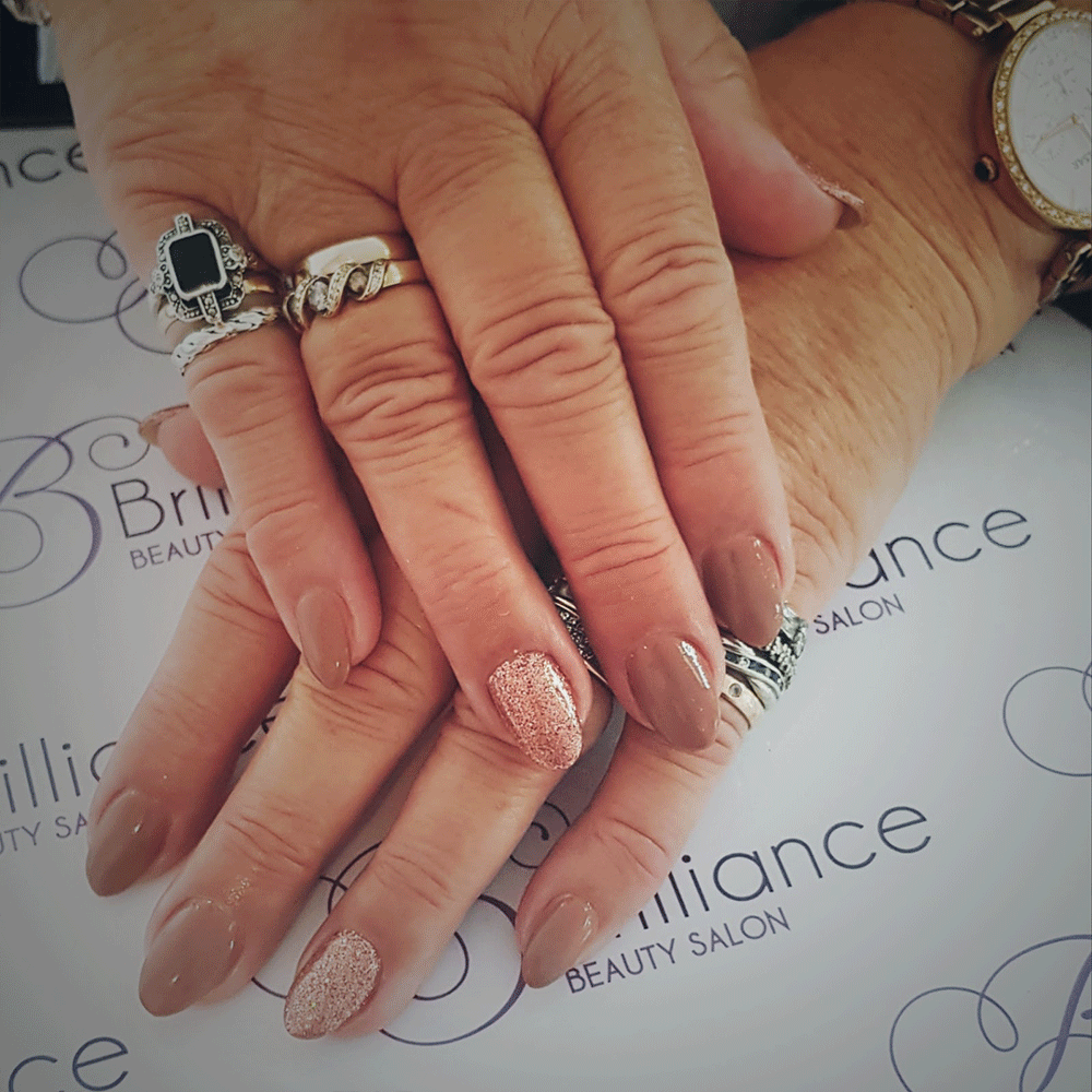 manicure with brown pastel gel nails
