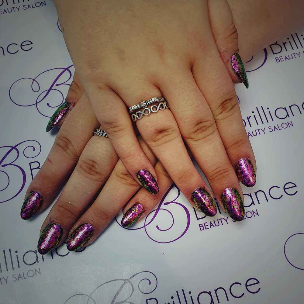 manicure with pink glitter gel nails