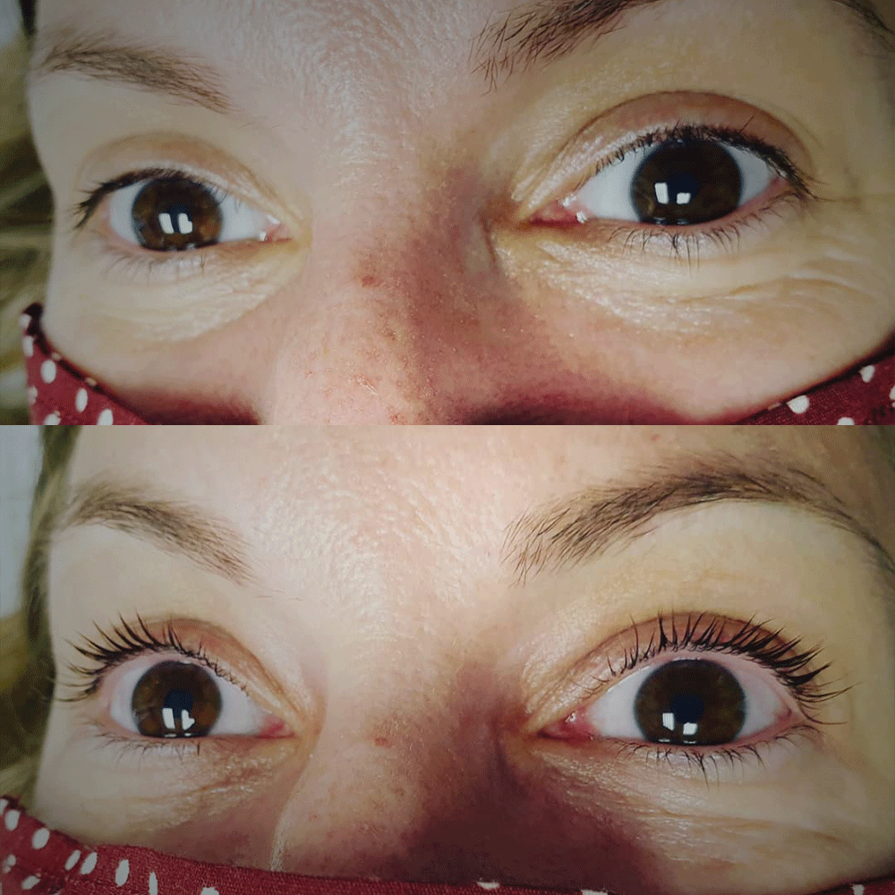 before and after photo of a lash lift and tint
