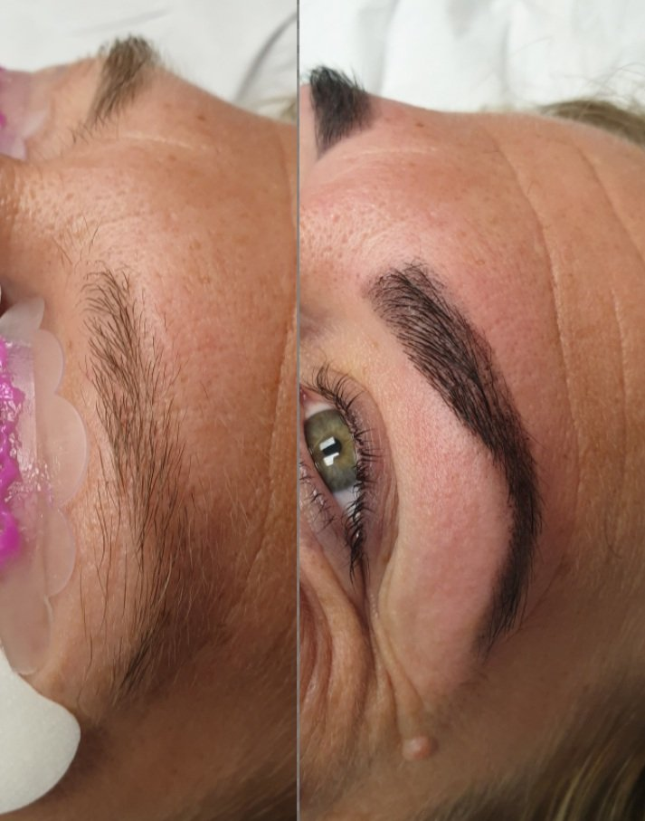 eyebrow wax and tint before and after photo