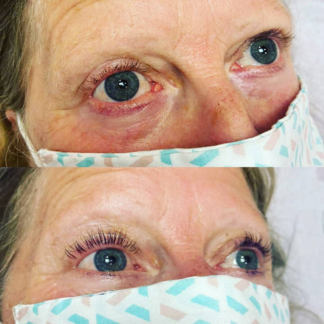 Lash lift and tint before and after photo